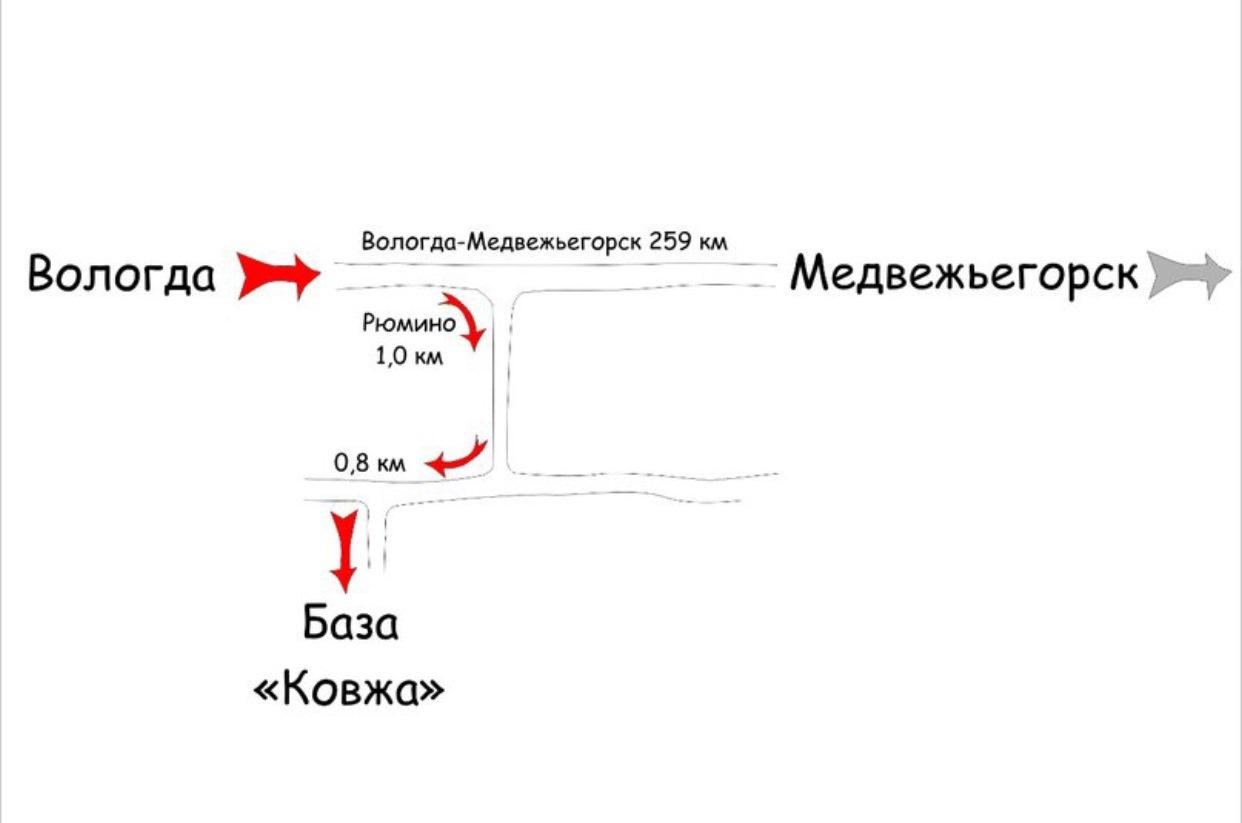 Схема проезда на турбазу Ковжа